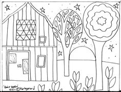 Rug Hooking PAPER PATTERN Quilt Barn Folk Art Abstract Primitive KARLA Gerard