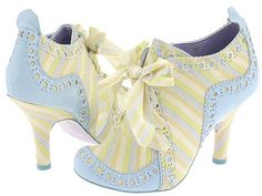 Abigail's Party by Irregular Choice.  These blue and yellow ones are the ones for me, but they so happen to be the rarest colour. Infact, I have found every Abigail's Party boot design for sale, BUT THESE