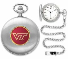 """Virginia Tech Hokies Pocket Watch by SunTime. $49.95. Japanese Quartz-Accurate Movement. Metal Cover. 12"""" Chain. Officially Licensed Virginia Tech Hokies Pocket Watch. Unisex Adults. The classically styled Suntime Pocket Watch is now available in over 150 college licenses. We have thoughtfully crafted a superior quality timepiece in your choice of gold or silver tone plating with a matching chain. Suntime has employed a quartz-accurate Japanese movement to display t..."""