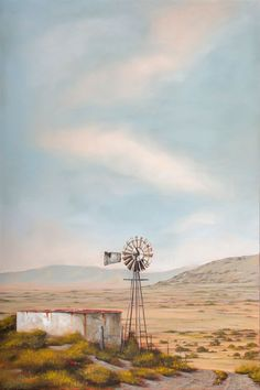 Watercolor Projects, Watercolor Landscape, Landscape Art, Landscape Paintings, Landscape Photography, Art Photography, Windmill Art, Farm Windmill, Old Windmills
