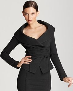 Donna Karan New York Jacket - Off the Shoulder with Jersey Wrap | Bloomingdale's