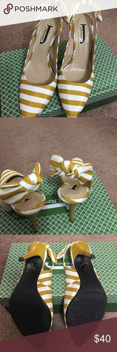 Mustard Yellow Striped Heels Beautiful striped heels in mustard yellow and white featuring a beautiful bow detail on the back. I bought these beauties and have tried them on in the house, but completely forgot about them. I love to shop, so I'm finding them a new home since I have way too many shoes! j renee Shoes Heels