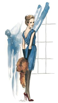blue, watercolor, sketch, art