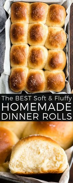 This Best Homemade Dinner Rolls recipe turns out perfectly every time. These easy, soft & fluffy dinner rolls are, slightly sweet and salty, irresistibly buttery and made from scratch! Best Dinner Roll Recipe, Best Bread Recipe, Dinner Rolls Recipe, Low Carb Dinner Recipes, Appetizer Recipes, Breakfast Recipes, Dessert Recipes, Desserts, No Yeast Dinner Rolls