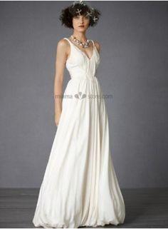 Vintage Empire waist Cheap Princess Floor length Chiffon Wedding dress Great for a low key wedding!