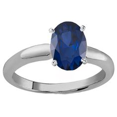 Elora Sterling Silver 1ct TGW Oval-cut Blue Sapphire Solitaire Engagement Ring (Size 4, Sterling Silver), Women's