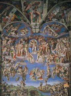 Michelangelo Buonarroti - Giudizio Universale (EN: The Last Judgment), 1536 Art History Timeline, Art History Major, Art History Memes, Art History Lessons, Renaissance Kunst, Renaissance Paintings, Italian Renaissance, Rennaissance Art, Michelangelo Paintings