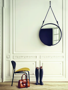 Gubi I Black Nagasaki Chair I Adnet Circulaire Mirror I Black-Yellow