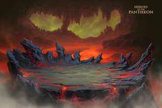 Lava Cave by painterhoya on DeviantArt Fantasy Landscape, Landscape Art, Fantasy Art, Game Background Art, Textured Background, Bird Sculpture, Matte Painting, Environment Concept Art, Fantasy Inspiration