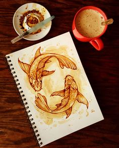 Coffe painting , koi