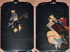 Case (Inrô) with Fox Wedding Procession  In the style of Shibata Zeshin  (Japanese, 1807–1891)  Period: Meiji period (1868–1912) Date: 19th century Culture: Japan Medium: Colored lacquer and gold maki-e on wood Netsuke: ivory in form of fox reclining on large leaf; Ojima: gold bead; connecting cord, dark green silk Inro with netsuke and ojime