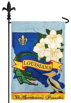 IAmEricas Flags - Louisiana Sportsman's Paradise Double Applique Garden Flag, $18.00 (http://www.iamericasflags.com/louisiana-sportsmans-paradise-double-applique-garden-flag/)
