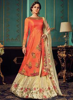Orange Art Silk Long Front Slit Kameez with A Line Lehenga