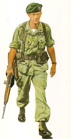 This is a painting of the photo cover of the National geographic from 1965 That discussed the Green Beret advisory role in Vietnam. I believe it was a Captain Gillespie as the subject. Military Gear, Military Equipment, Military History, Military Uniforms, Vietnam Veterans, Vietnam War, Marine Corps, Green Beret, South Vietnam