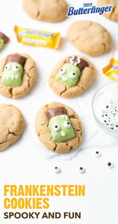 We're loving these adorable Butterfinger Frankenstein Cookies, just in time fo. - Halloween with Butterfinger - Halloween Baking, Halloween Goodies, Halloween Food For Party, Halloween Desserts, Halloween Kids, Halloween Treats, Vintage Halloween, Halloween Carnival, Halloween 2017