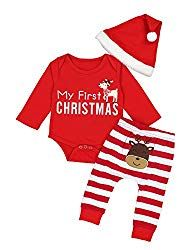11c1874ca5f Doding Christmas Outfits Baby Boys Girls My First Christmas Rompers With Xmas  Hat Clothes Set
