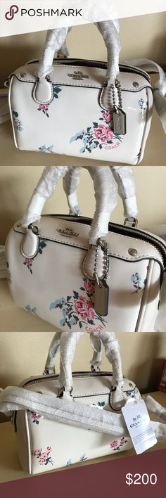 "Coach Micro Mini Bennett Satchel 💐 This is quite possibly the MOST adorable mini satchel I have ever come across. If this stays up in my Posh closet too long, I'm tempted to keep it for myself! 💝  Brand new Coach Micro Mini Bennett Satchel with Cross Stitch Floral print. It's a gorgeous high glass patent leather in a cream color. Inside it features 2 credit card slots. Zip closure in silver hardware.   Handles with 2 1/4"" drop 6"" L and 4.5"" H It says detachable crossbody strap (I can't…"