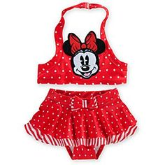 Disney Minnie Mouse Red Swimsuit for Baby - 2-Piece | Disney StoreMinnie Mouse Red Swimsuit for Baby - 2-Piece - Minnie is all smiles on our red two-piece swimsuit for baby. Fun in the sun is a shore thing with the built-in UPF 50  protection.