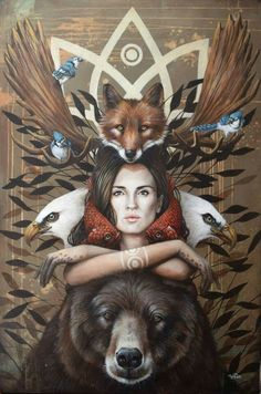 How many power animals or helping spirits do you see? Quanti animali potenti o … Art And Illustration, Illustrations, Elder Futhark, Spirited Art, Animal Totems, Visionary Art, Surreal Art, Spirit Animal, Fantasy Art