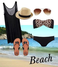 Beach outfit- Tank, Fedora and aviators complete any beach outfit