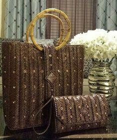 Helena Sassy Unique Handbags & Wristlets - The Brown Chevrons Design