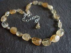 Chunky Citrine nugget November Birthstone necklace by SheRocksGemjewellery SOLD