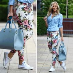 White Converse + Floral Jeans=YES! To this entire outfit Blumenhosen Outfit, Floral Pants Outfit, Look Fashion, Autumn Fashion, Fashion Outfits, Womens Fashion, Daily Fashion, Casual Wear, Casual Outfits