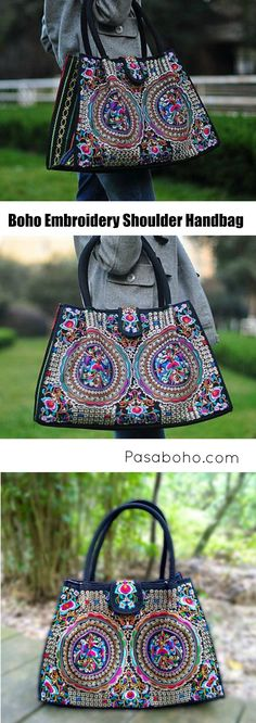 $47.90 ( Free Shipping Worldwide ) - Boho Embroidery Shoulder Bag from Pasaboho. Fashion trend and styles from hippie chic, modern vintage, gypsy style, boho chic, hmong ethnic, street style, geometric and floral outfits. We Love boho style and embroidery stitches. Hippie girls with free spirit sharing woman outfit ideas and bohemian clothes, cute dresses and skirts.