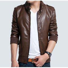 2015 new men's leather jacket Korean catwalks shall Slim leather ...