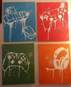 Set of 4 Custom Gamer Canvas Playstation Xbox 1 Nintendo Sega Wall decor Ready to Hang Gamer Art holiday gift christmas, Custom gaming canvas Perfect for any man cave, gamer set up, or casual gamers room Get your own . Game Room Decor, Room Setup, Wall Decor, Playstation, Geek House, Deco Gamer, Gamer Bedroom, Video Game Rooms, Game Room Design