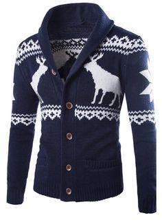 Christmas Snowflake Fawn Jacquard Turndown Collar Long Sleeve Slimming Stylish…