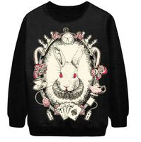 Autumn Winter  Women Hoodies Gothic  hip-hop style col  terrorist rabbit head  Casual Sweatshirts women tracksuits sport suits