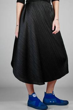 69c6de1faad PLEATS PLEASE Issey Miyake - Wide And Asymmetric Skirt In Polyester Plissé  With Narrow Diagonal Strip