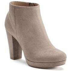 LC Lauren Conrad Women's Platform Ankle Boots ($28) ❤ liked on Polyvore featuring shoes, boots, ankle booties, lt beige, ankle boots, platform booties, chunky heel platform boots, beige booties and faux suede ankle boots