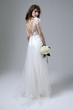 Back View of the Iris Jane French Chantilly Lace and Tulle Wedding Dress by…