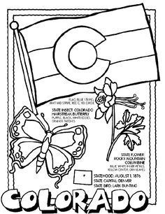 Free printable state coloring pages with state flag, some state symbols and state facts