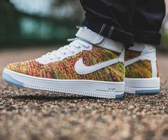 the best attitude 5faf2 bff95 Nike Air Force one AF1 Ultra Flyknit Mid Multi color White Gold Strap Nike  Air Force