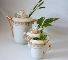 Vintage white and gold porcelain tea or by MariusetJeannette