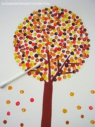Fall trees Q-tip painting. What a cute craft to do with your children!