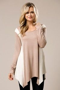 Taupe tunic with ivory side accent   Shop this product here: http://spreesy.com/themodestchic/12   Shop all of our products at http://spreesy.com/themodestchic      Pinterest selling powered by Spreesy.com