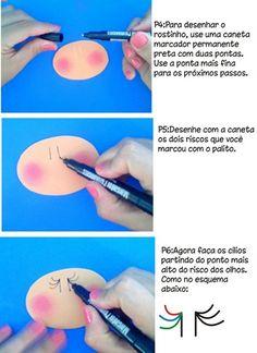 Como desenhar rostinho das fofuchas   Artesanato em EVA