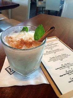 This beverage includes: Chila Orchata Cinnamon Cream Rum, Jack Daniels Tennessee Fire, Fresh Mint and a Cinnamon Stick.