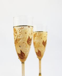Gold Copper Lace Hand Painted Champagne Glasses by NevenaArtGlass, $53.80
