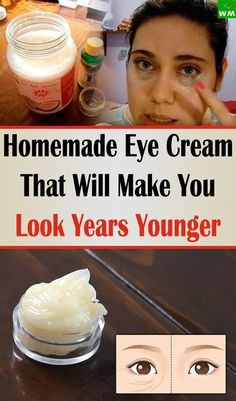 Natural Beauty Remedies Homemade Eye Cream That Will Make You Look Years Younger - The Wellmindness - Reduced wrinkles and more elastic skin will make you look years younger thanks to this homemade eye cream. Beauty Care, Beauty Skin, Health And Beauty, Beauty Secrets, Beauty Hacks, Beauty Tips, Diy Beauty, Beauty Products, Beauty Makeup