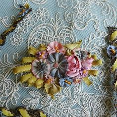 Antique French Silk Ombre Ribbons Ribbonwork 2 Pieces Lot   eBay Hand Work Embroidery, Silk Ribbon Embroidery, Embroidery Art, Embroidery Stitches, Ribbon Art, Diy Ribbon, Silk Flowers, Fabric Flowers, Fabric Embellishment