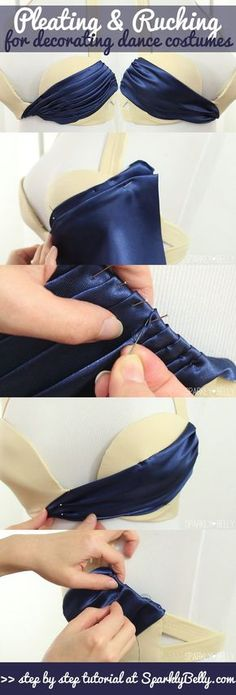 Pleating and Ruching for decorating dance costumes. Pleating and Ruching for decorating dance costumes: Sewing Hacks, Sewing Tutorials, Sewing Patterns, Sewing Tips, Sewing Ideas, Shirt Patterns, Dress Patterns, Dress Tutorials, Coat Patterns