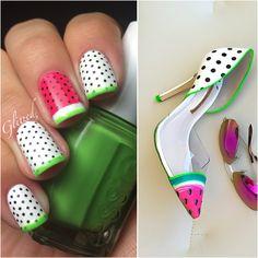 Polka dot watermelon nails