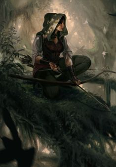 Hooded female hunter with bow and arrow perched in a tree - alert - forest - huntress - fantasy - past - realm - people Fantasy Artwork, Fantasy Inspiration, Character Inspiration, Fantasy Character Design, Character Art, Elfen Fantasy, Film Anime, Elfa, Fantasy Warrior