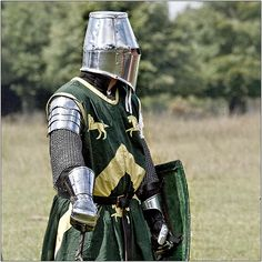 Lord in Helm  The Medieval Fayre at Tatton Old Hall. Organised by Plantagenet Events.