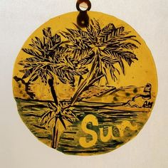 Painted Yellow Glass Roundel - Sun and palm trees by the sea £15.00